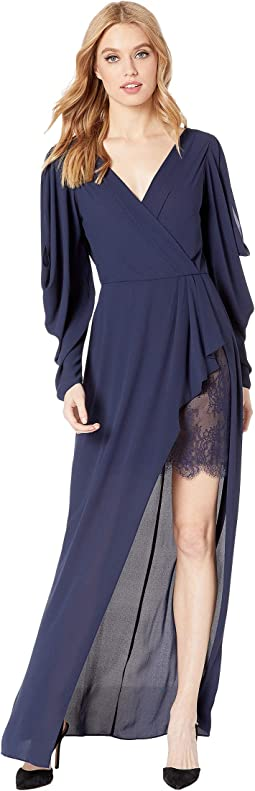 Koko Draped-Sleeve Gown