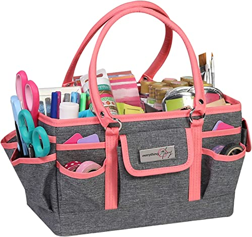 Coral Heather Deluxe Store and Tote - Storage Art Caddy for Sewing & Scrapbooking - Craft Bag Organizer w/Handle for ...