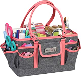 Everything Mary Craft Bag Organizer Tote, Coral - Storage Art Caddy for Sewing & Scrapbooking - Crafts Supply Carrier w/Handle for Supplies & Tools - Organization for School, Medical, Office