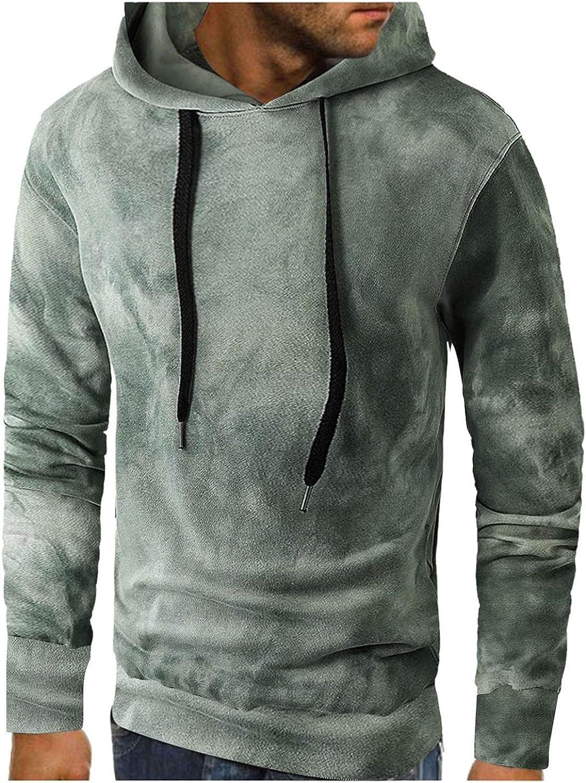 Qsctys Men Lightweight Hoodie Crewneck Long Sleeve Fashion Hip hop Sweatshirts Pullover Hooded Thin Hoodies Tie-Dye Designs
