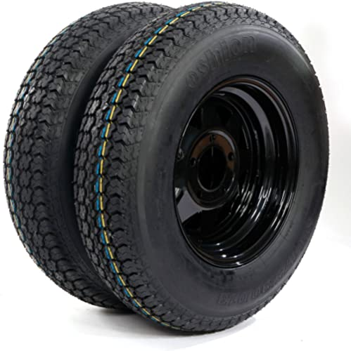 "MOTORHOT 13"" Trailer Wheel & Tire 175/80D13 LRC ET Bias Trailer Tires 5 Hole Black Steel Ring Pack of 2"