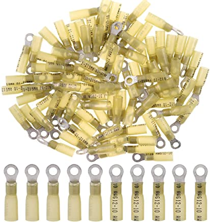 20-Pack 10 Positive, 10 Negative InstallGear 10 Gauge AWG Crimp Ring Terminals Connectors