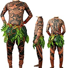 Your Love Halloween Moana Maui Tattoo T Shirt/Pants Adult Mens Women Cosplay Costume with Leaves Skirt