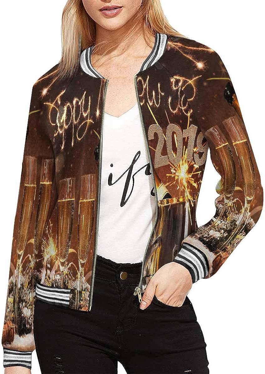 InterestPrint Women's Grunge Love Hearts Valentine's Day Long Sleeves Zippered Pockets Jacket