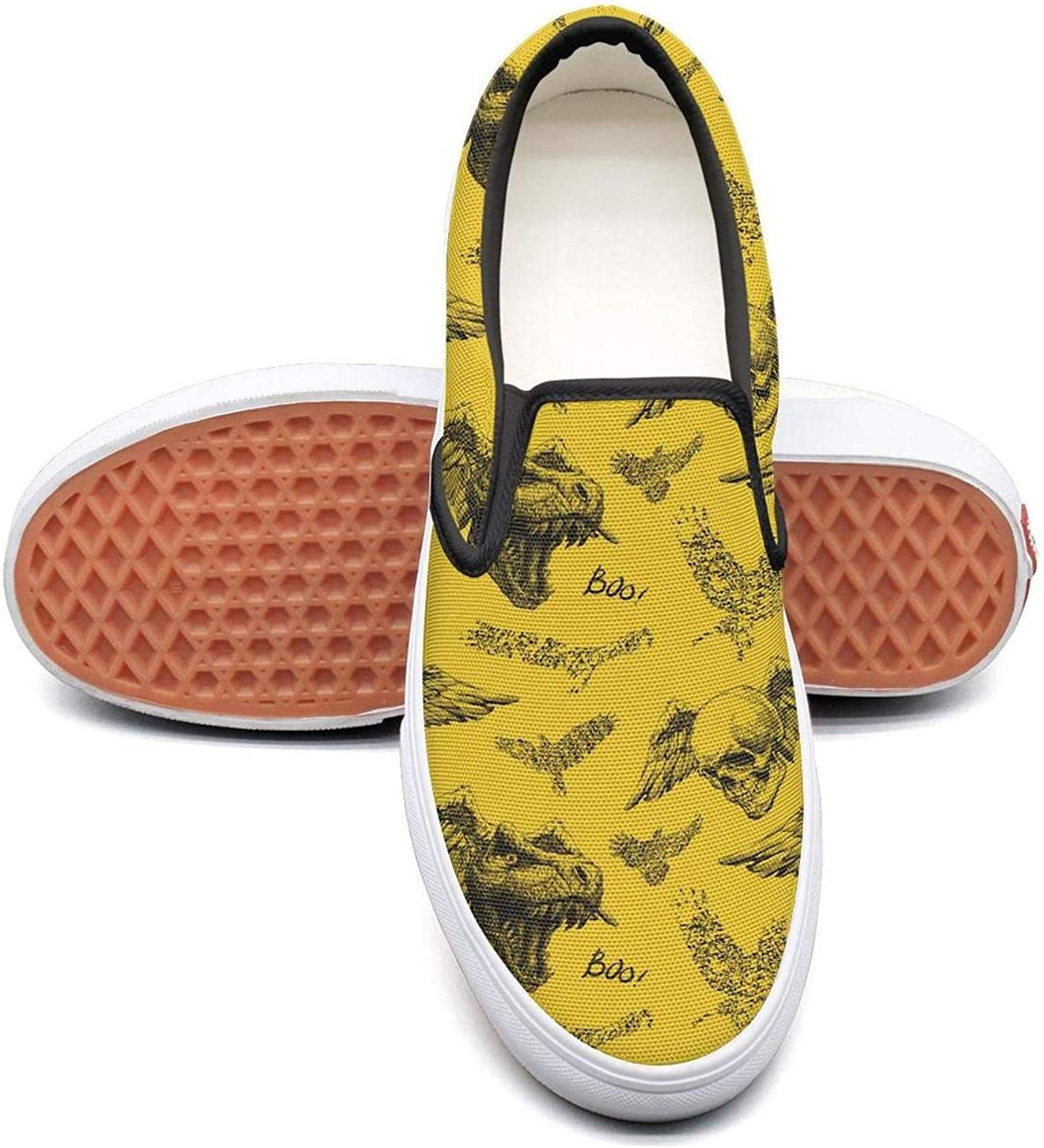 Yellow Dinosaur Skull Slip On Rubber Sole Sneakers Canvas shoes for Women Fashion