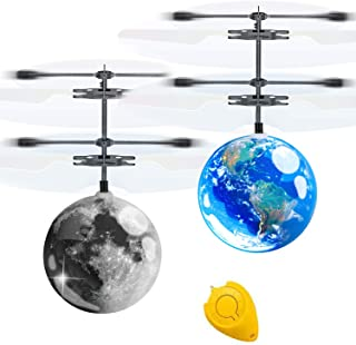 AMENON 2 Pack Flying Ball Toys Kids Holiday Birthday Gifts for Boys Girls 6-14 Years Light Up Hand Operated Drones Hover B...