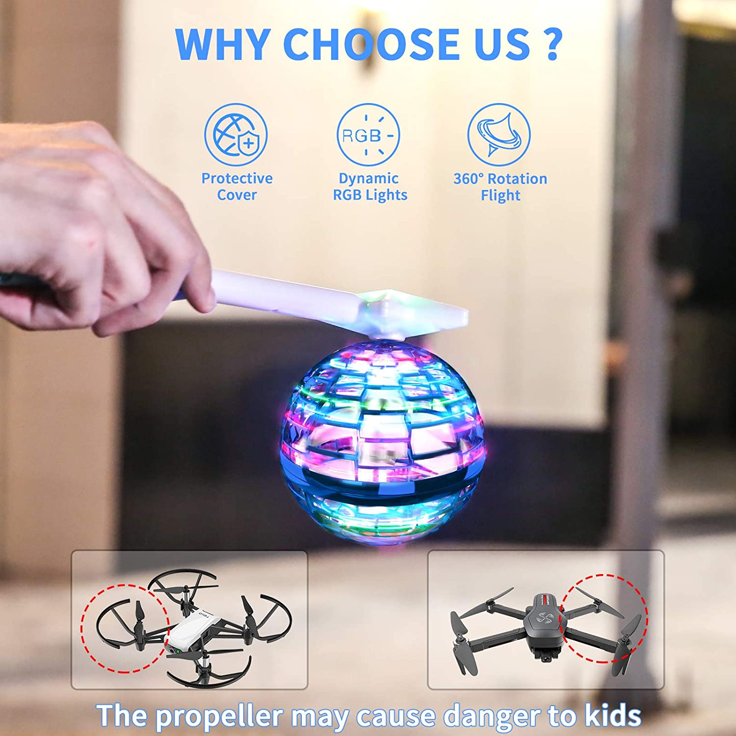 FlyNova Pro Magic Flying Toys Ball Built-in RGB Lights with Magic Wand Shining Colorful Flying Drone for Kids Adults Indoor and Outdoor Games Toys Upgraded Version Blue