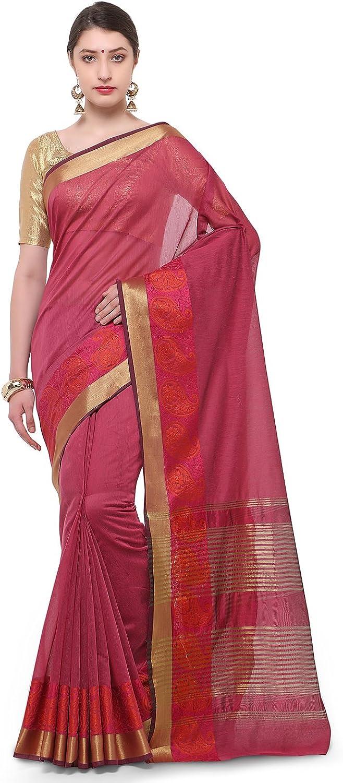 Varkala Silk Sarees Women Blended Cotton saree (TD1185RN_Rani Pink_Freesize)