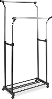 Whitmor 6024-3539 White Collection - Perchero ajustable para ropa, Black Double Rod, 2 Adjustable Bars, 1