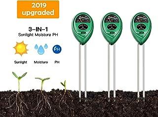 [3-Packs] Soil Moisture Meter,pH Meter, Light Meter,3-in-1 Soil Tester Kits with Moisture,Light and PH Test for Garden, Farm, Lawn, Indoor & Outdoor (No Battery Needed)