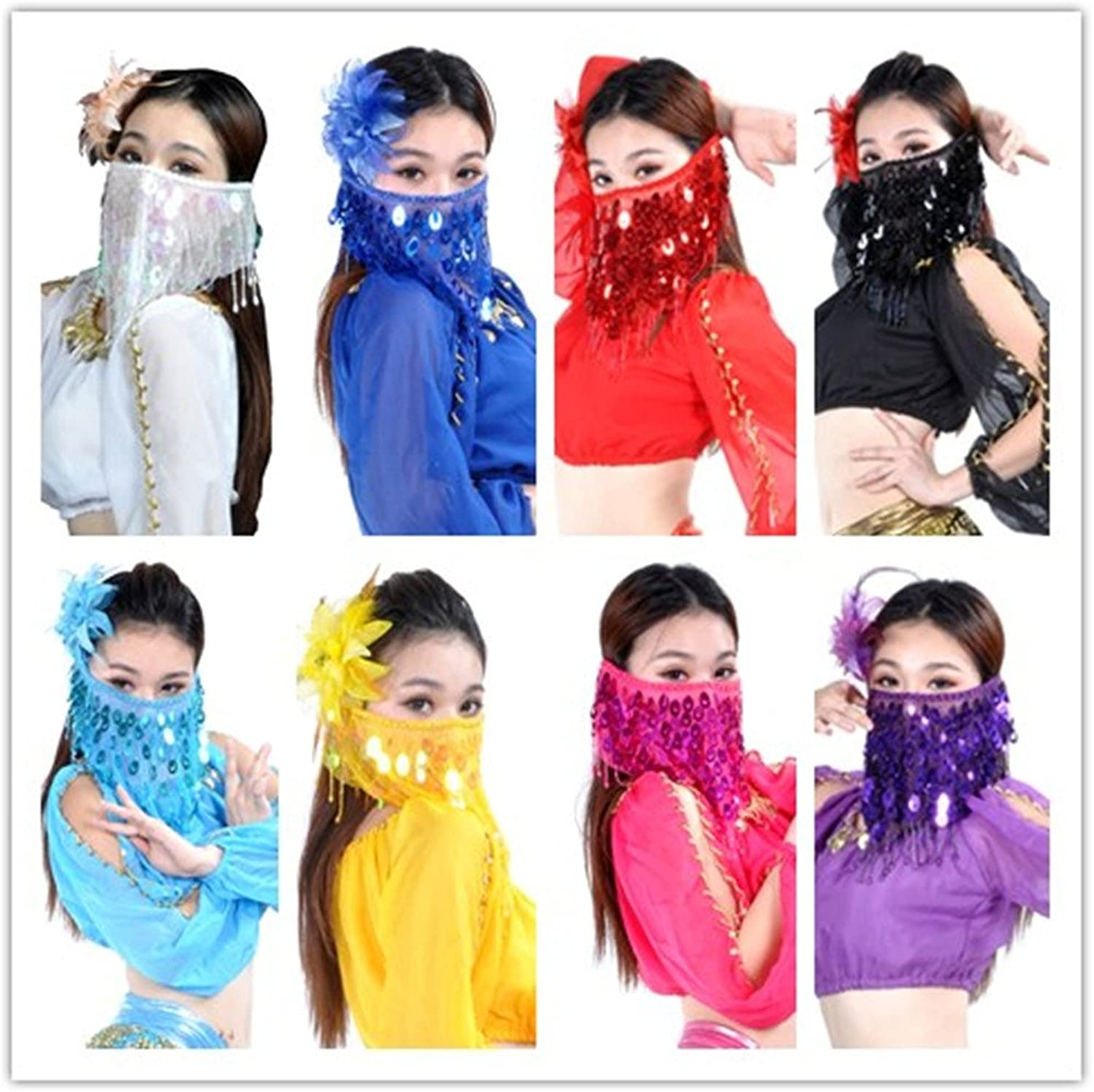 Dance Fairy Belly Dance Face Veil with sequins & Beads,8Pcs(8colors)