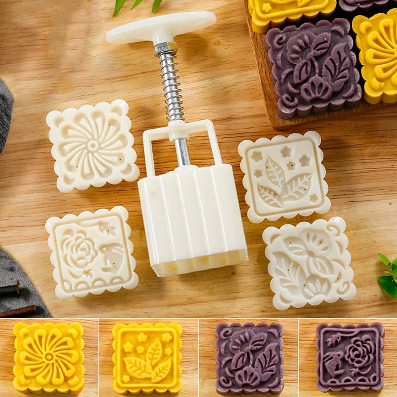 Fullive 75G Mooncake Mold - Square Hand Press Mooncake Mold DIY Baking Mold,Soap Mold,Bath Mold with 4 Random Stamps for Mother