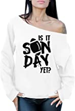 Awkward Styles Women's is It Sunday Yet American Football Rugby Graphic Off Shoulder Tops Oversized Sweatshirt
