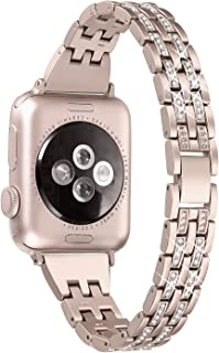 Secbolt Bling Bands Compatible Apple Watch Band 38mm 40mm iWatch Series 3, Series 2, Series 1, Diamond Rhinestone Metal Jewelry Wristband Strap, Champagne Gold