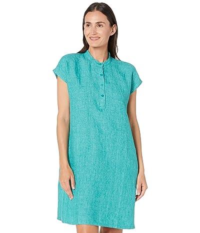 Eileen Fisher Mandarin Collar Dress in Washed Organic Linen Delave