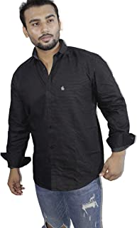 Spanish One Look Mens Long Sleeve 100% Cotton Regular Fit Button Down Casual Shirts Dress in Black Plain Shirt for Men
