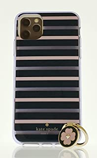 Kate Spade New York Phone Case for Apple iPhone 11 Pro MAX with Ring Stand - Slim Protection Cover, Protective Design Comold, Stripes - Clear, Blue, Pink, Gold