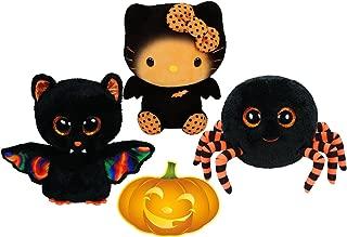 Ty Beanie Boos Halloween Crawly Spider, Scarem Bat, and Hello Kitty Bat Set of 3 Scary Friends with Bonus Pumpkin Sticker