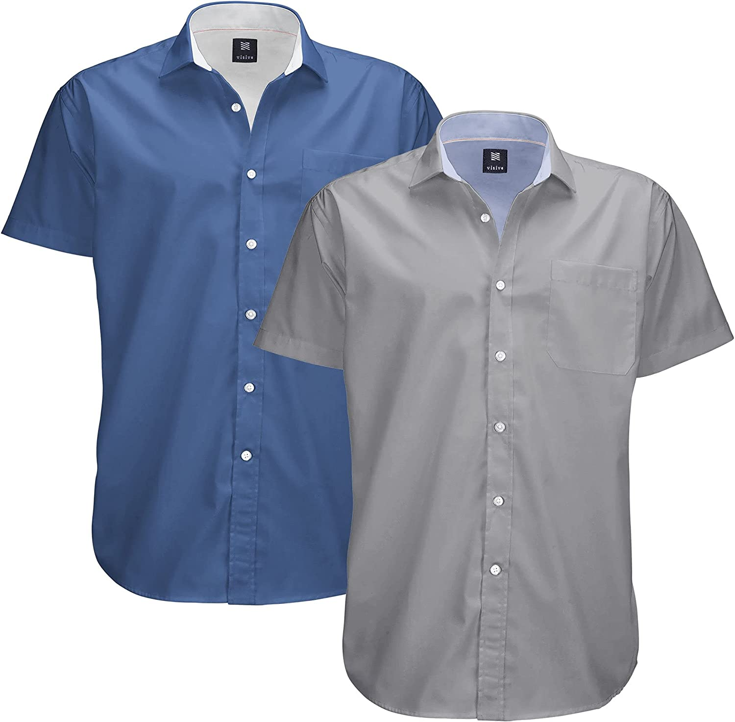 Mens Oxford Big and Tall Solid Short Sleeve 2 Pack Button Up Casual Shirt