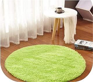 Fluffy Round Carpets for Living Room Decor Faux Fur Carpet Kids Room Long Plush Rugs for Bedroom Area Rug Modern Mat,Fruit Green,Diameter 120cm