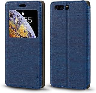 جراب Huawei P10 Plus، جراب جلد محبب خشبي مع حامل بطاقات ونافذة، غطاء قلاب مغناطيسي لهاتف Huawei P10 Plus