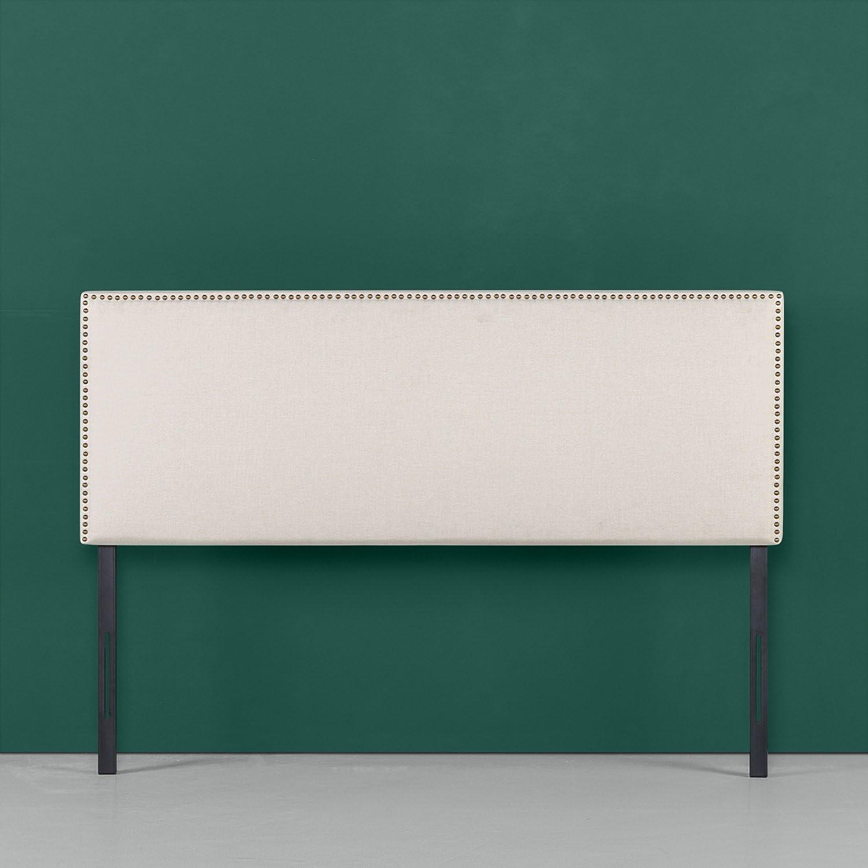 Zinus Upholstered Nailhead Rectangular Headboard in Taupe, Full