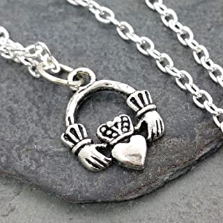 Small Claddagh Antique Silver Charm Necklace, 18