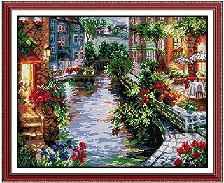 Proumhang 11 CT DIY Stickpackungen Kreuzstich Tischdecke zum Sticken von 4 Strängen Aida Canvas Gedruckt 61x51cm: die Häuser am Wasser