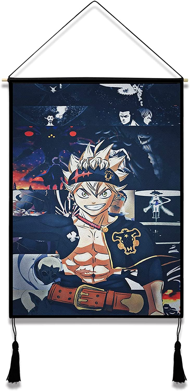 Black Clover Tapestry Anime Wall Scroll Poster Hanger for Bedroom Decor Birthday Gifts 15.7 x 23.6 in
