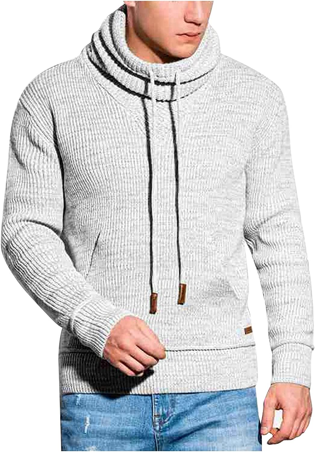 Huangse Men's Knitted Turtleneck Pullover Sweater Slim Fit High Neck Sweaters with Drawstring Long Sleeve Knit Sweatshirt