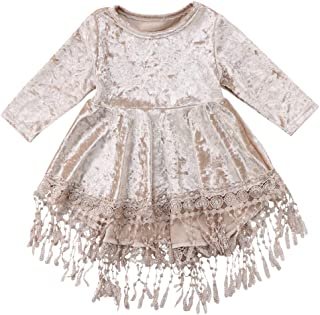 YOUNGER TREE Toddler Baby Girl Vintage Princess Dress Kids Flower Girls Fall Clothes Skirt Silver Velvet Tassels Party Dresses