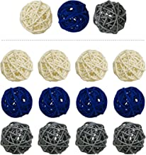 15 Pieces Wicker Rattan Balls Decorative Orbs Vase Fillers for Craft, Party, Wedding Table Decoration, Baby Shower, Aromatherapy Accessories, 2 Inch (Blue Gray White)