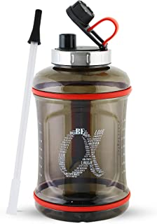 AlphaX Large 108oz/3.2L Daily Water Bottle & Straw, Motivational, Reusable Water Jug with Tracking & Time Marker, Stainles...