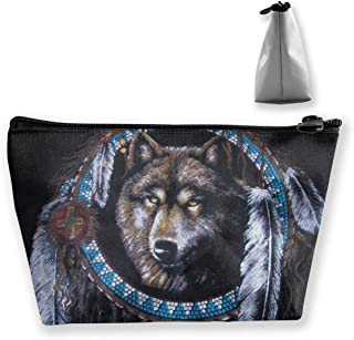 RobotDayUpUP Native American Indians Wolf Womens Travel Cosmetic Bag Portable Toiletry Brush Storage High Capacity Pen Pencil Bags Accessories Sewing Kit Pouch Makeup Carry Case