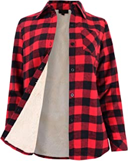 Ladies' Code Women's Winter Flannel Plaid Button Down Top with Sherpa Fleece Lining