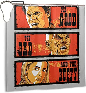 ENXIANGXIJ Waterproof Polyester Fabric Shower Curtain The Good, The Bad and Buffy The Vampire Slayer Print Decorative Bathroom Curtain with Hooks,72