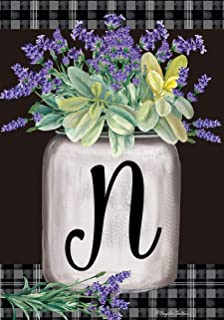 "Briarwood Lane Farmhouse Monogram Letter N Garden Flag Floral 12.5"" x 18"""