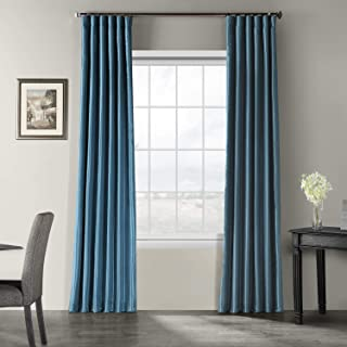 HPD Half Price Drapes PDCH-KBS33-108 Vintage Textured Faux Dupioni Silk Curtain, 50 X 108, Nassau Blue