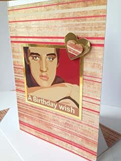 ELVIS PRESLEY greetings card American singer, actor, Red cream Happy Birthday Thanks Best friend Card matching envelope A6/C6 size