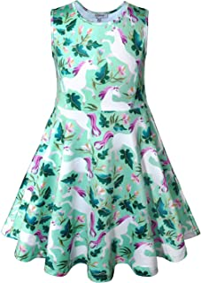 631c907c3d49f JK Girls Unicorn Dresses Complete Unicorn Pattern Maxi Dress,Hoodie,Hair  Ties for Kids