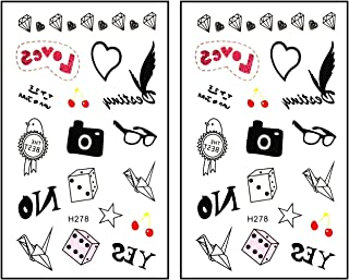 Mini Tattoos 2 Sheets Camera dice Glasses Cartoon Painting Tattoos Temporary Waterproof Sticker for Men Women Teens Kids Water Transfer Tattoo Fake Body Designs Fun Party Art Body (11)
