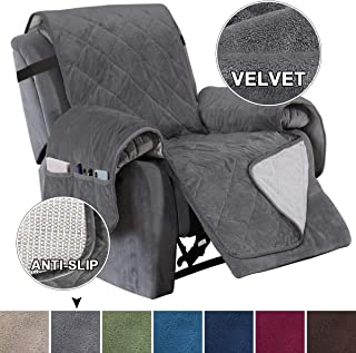 Turquoize Recliner Cover Velvet Recliner Chair Cover, Pet Cover for Recliner with Elastic Straps Recliner Sofa Slipcover for Living Room Furniture Protector (Seat Width Up to 28, Gray)