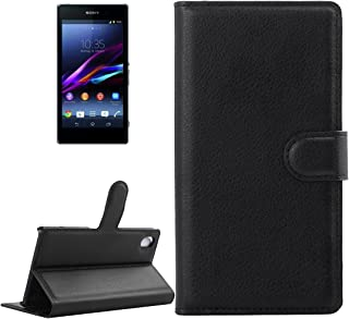 Premium Phone Case for Sony Xperia Z1 / L39h Horizontal Flip Leather Case with Card Slots & Wallet (Color : Black)