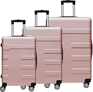 Luggage Set 3 Pcs, ABS Fully Covered Travel Suitcases 360 Degree Silence Fabric Wheels Durable Push-Button Handle Easy to ...