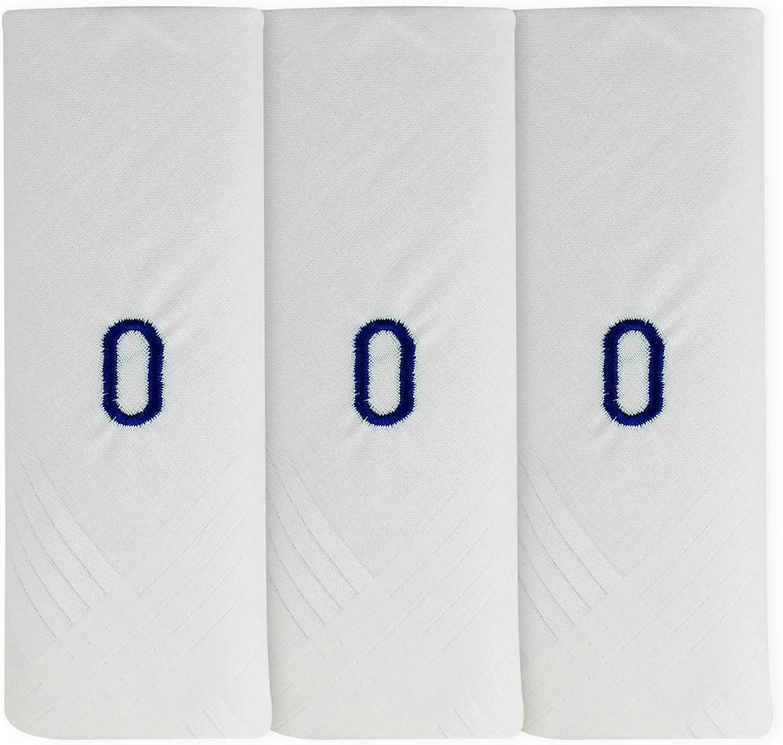 Mens/Gentlemens 3 Pack Plain White Handkerchiefs With 1 Letter Name Initials, Letter O
