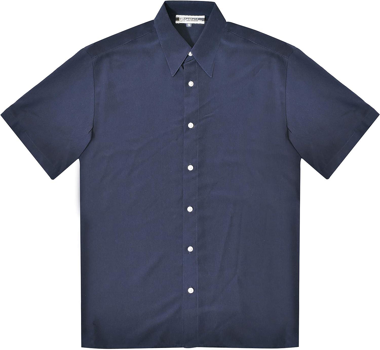 SHIRTS MADE IN USA Men's Navy Regular Fit Microfiber Short Sleeve Shirt