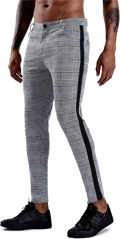FFERZOTEX Men's Gray Max 60% Fashionable OFF Plaid Slim Stretch Dr Fit Flat-Front Skinny