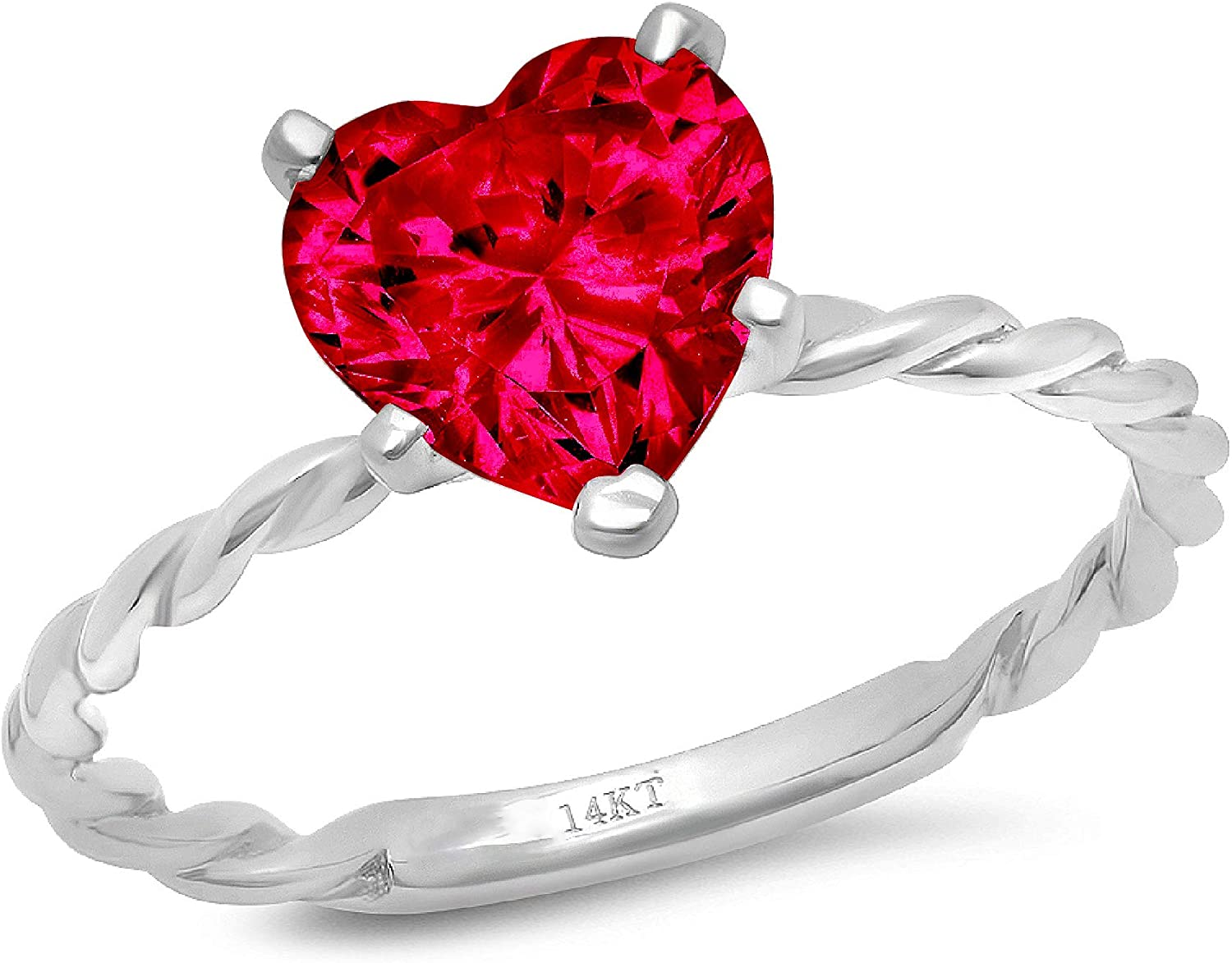 1.9ct Brilliant Heart Cut Solitaire Rope Twisted Knot Flawless Simulated CZ Red Ruby Ideal VVS1 5-Prong Engagement Wedding Bridal Promise Anniversary Designer Ring Solid 14k White Gold for Women