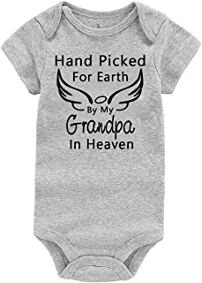 Baby Romper Hand Picked for Earth by My Grandpa/Grandma in Heaven Baby Boys Girls Bodysuit