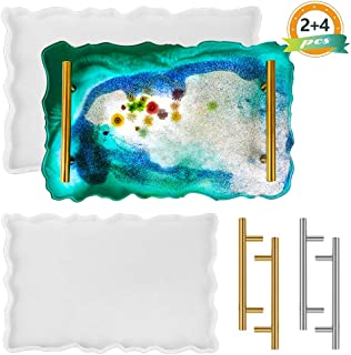Heflashor Silicone Resin Tray Molds, 2+4 Pcs Large Geode Agate Platter Molds with Handles, Epoxy Resin Casting Molds for M...